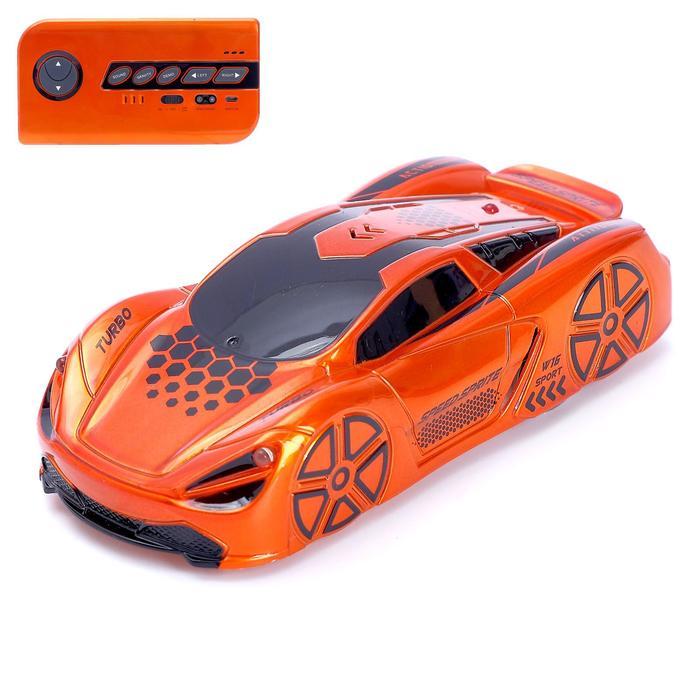 Антигравитационная машинка Racer, радиоуправление, аккумулятор, ездит по стенам, цвет оранжевый