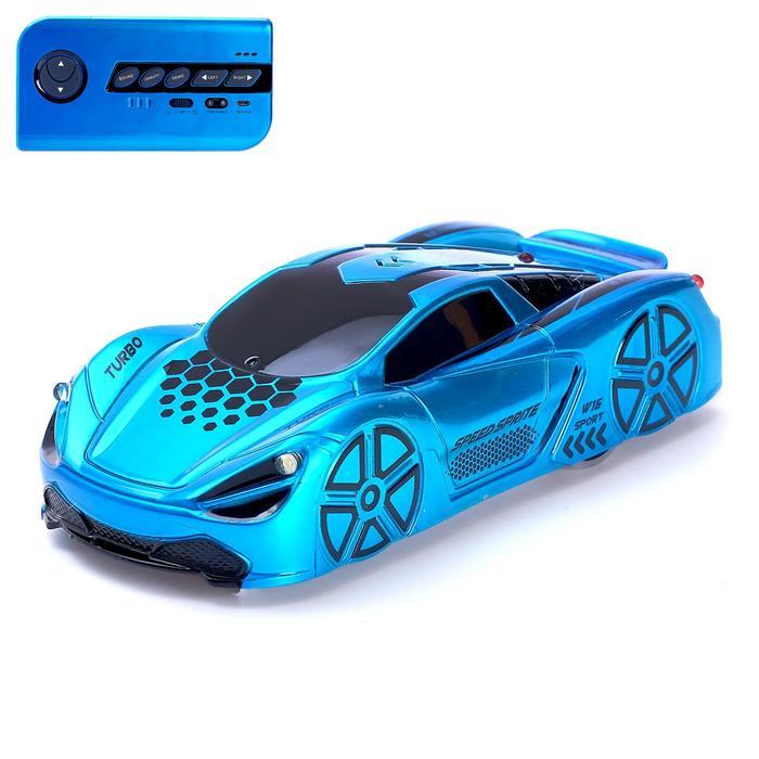 Антигравитационная машинка Racer, радиоуправление, аккумулятор, ездит по стенам, цвет синий