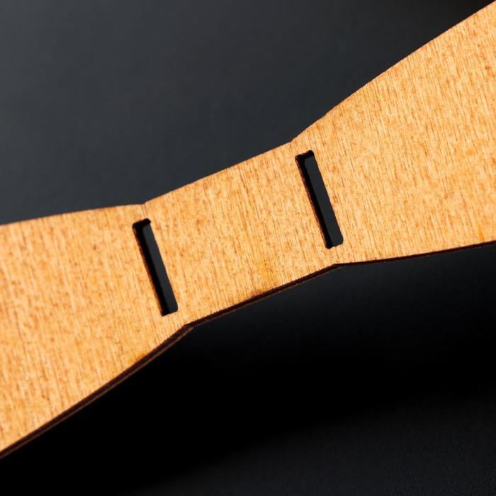 """Бабочка деревянная """"Классическая"""", 12,5х3х0,3 см, светлая"""