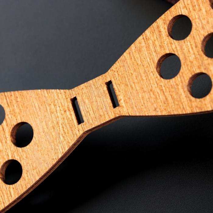 """Бабочка деревянная """"В горошек"""", 12,5х4х0,3 см, светлая"""