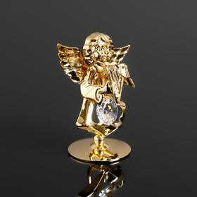 Сувенир 'Ангел с арфой' с 1 кристаллом Сваровски,на подставке 5,5х3,5х6см Ош