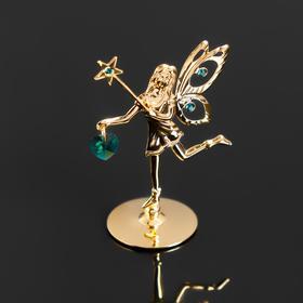 Сувенир 'Фея со звездой' с зелеными кристаллом Сваровски, 5х3,5х7см Ош