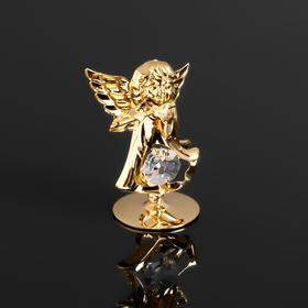 Сувенир 'Ангел с флейтой' с 1 кристаллом Сваровски,на подставке,  5,5х3,5х6см Ош