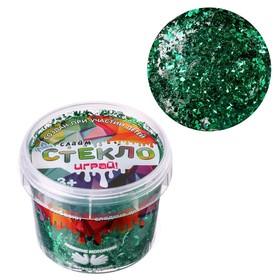 Слайм «Стекло» с зелёными блёстками слюда