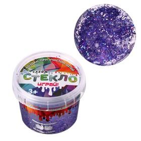 Слайм «Стекло» с фиолетовыми крупными блёстками