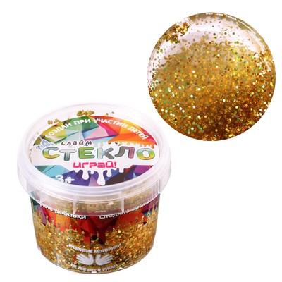 Слайм «Стекло» с золотыми крупными блёстками 100 г - Фото 1