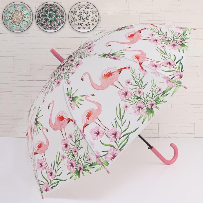 Зонт - трость полуавтоматический «Tropical», 8 спиц, R = 50 см, цвет МИКС