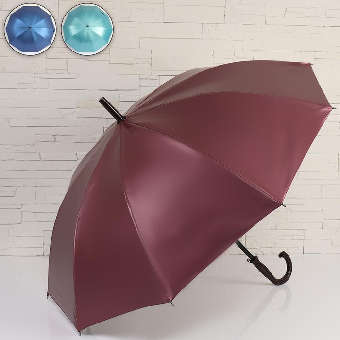 Зонт - трость полуавтоматический «Металлик», 10 спиц, R = 50 см, цвет МИКС