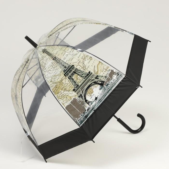 Зонт - трость полуавтоматический «Башни», 8 спиц, R = 40 см, цвет МИКС