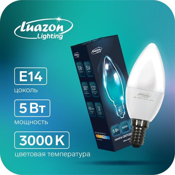 Лампа cветодиодная Luazon Lighting, C37, 5 Вт, E14, 450 Лм, 3000 K, теплый белый