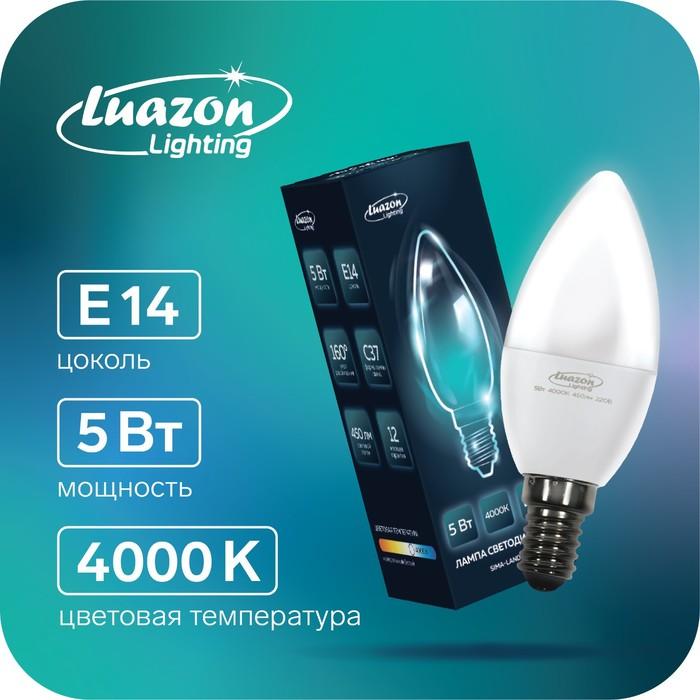 Лампа cветодиодная Luazon Lighting, C37, 5 Вт, E14, 450 Лм, 4000 К, дневной свет