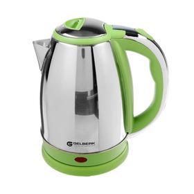 Чайник электрический GELBERK GL-318, металл, 1.8 л, 1500 Вт, серебристо-зелёный