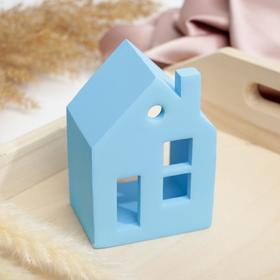 Подсвечник в виде домика «Голубой», 7,5 х 11 х 5,5 см