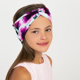 Повязка на голову, цвет фуксия/цветы, размер 46-50
