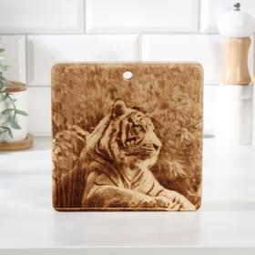 """Доска из массива кедра квадратная, 18 × 18 см """"Тигр"""" №1"""