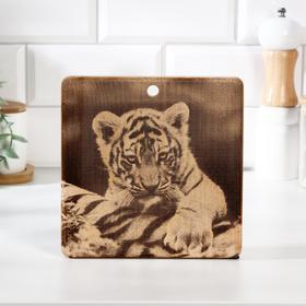 """Доска из массива кедра разделочная квадратная, 18 × 18 см """"Тигр"""" №3"""