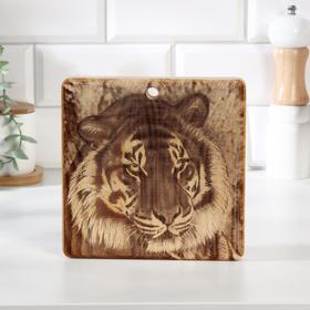 """Доска из массива кедра разделочная квадратная, 18 × 18 см """"Тигр"""" №5"""