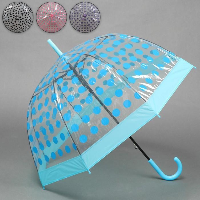 Зонт - трость полуавтоматический «Горох», 8 спиц, R = 41 см, цвет МИКС
