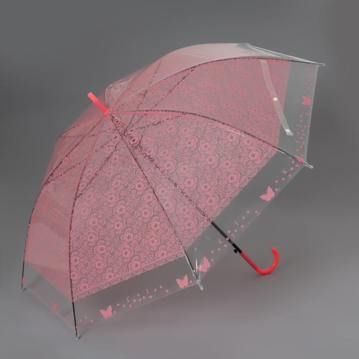 Зонт - трость полуавтоматический «Кружево», 8 спиц, R = 46 см, цвет МИКС