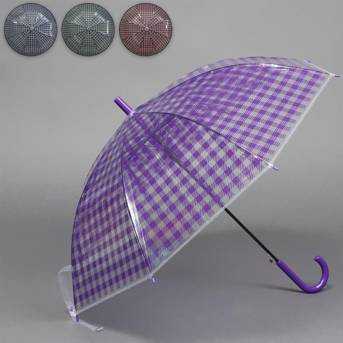 Зонт - трость полуавтоматический «Клетка», 8 спиц, R = 45 см, цвет МИКС