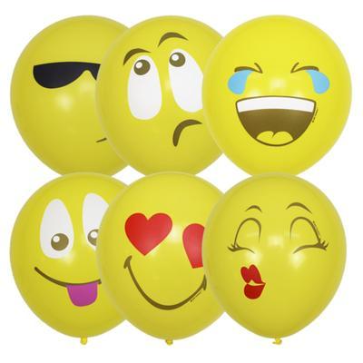 """Шар латексный 12"""" «Эмоции, смайл», 1-сторонний, пастель, набор 5 шт., цвет жёлтый, виды МИКС - Фото 1"""