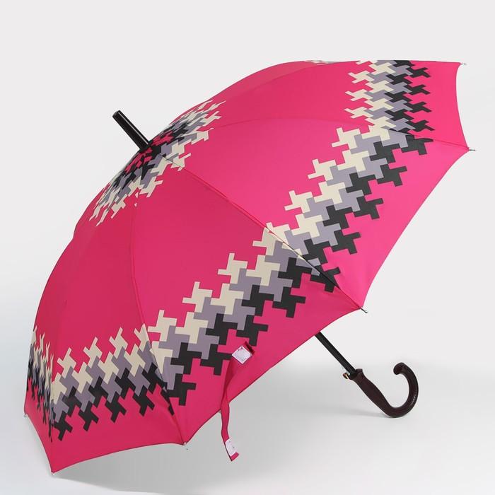 Зонт - трость полуавтоматический «Мозайка», 10 спиц, R = 49 см, цвет МИКС