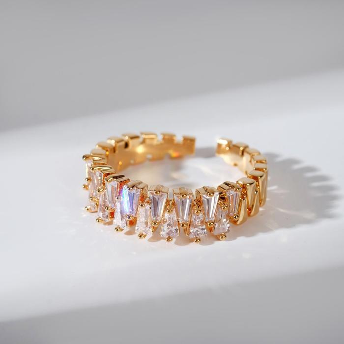 """Кольцо """"Богатство"""" диадема, цвет белый в золоте, безразмерное"""