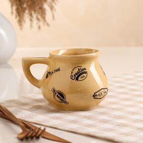 """Чашка """"Чайная"""", бежевая, 0.3 л, деколь микс"""