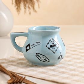 """Чашка """"Инжир"""", голубая, чёрная деколь чай, 0.3 л, микс"""