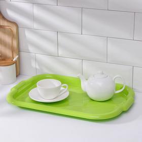 Поднос прямоугольный, 45×30×3 см, цвет зелёный