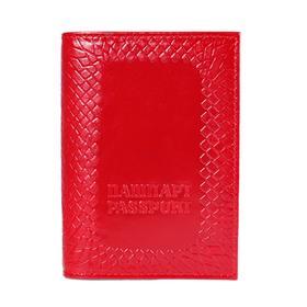Обложка для паспорта, нат.кожа, 32207 0с1836к45 КРАСНЫЙ