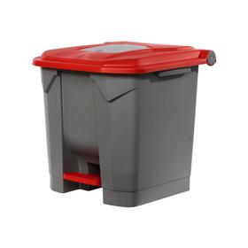 Контейнер мусорный  30л 350х380х460 серый с красной крышкой и педалью Ош