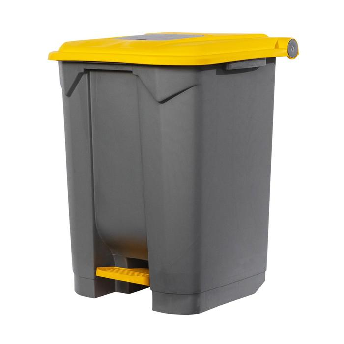 Контейнер мусорный 50л 390х480х550 серый с жёлтой крышкой и педалью
