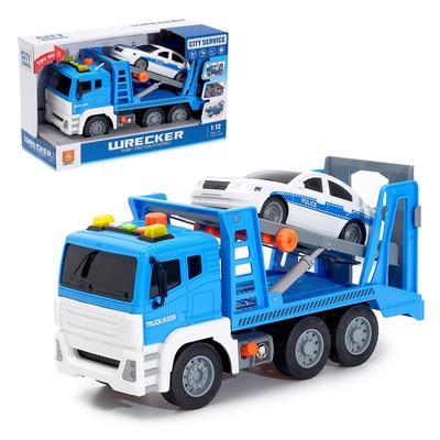 Машина инерционная «Эвакуатор» с машинкой, 1:12, световые и звуковые эффекты - Фото 1