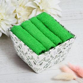 Набор махровых салфеток «Эвкалипт» 30х30 см -4 шт, 100% хл, 340гр/м2