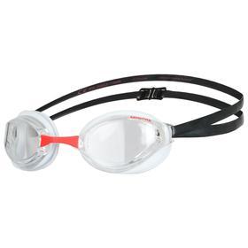 Очки для плавания ARENA Python, прозрачные линзы, нерегулируемая переносица, белая/чёрная оправа