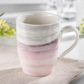 Кружка Доляна «Эбру», 350 мл, цвет серо-розовый
