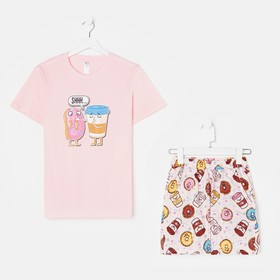 Костюм женский «Пончики» (футболка, шорты), цвет розовый, размер 42