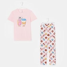 Костюм женский «Пончики» (футболка, брюки), цвет розовый, размер 54