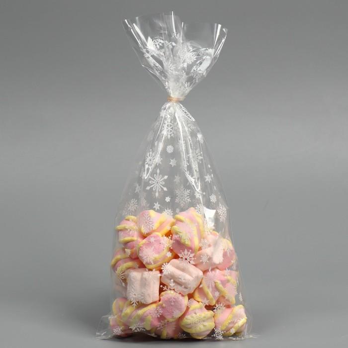Пакет подарочный пластиковый Снежинки, 15 х 30 см