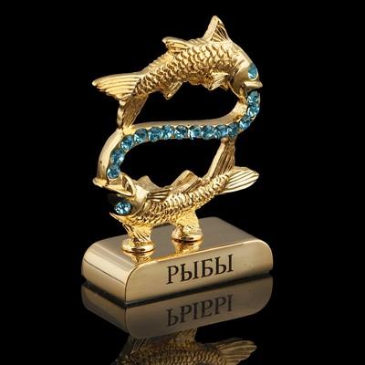 Сувенир знак зодиака «Рыбы», 5×2×5 см, с кристаллами Сваровски - Фото 1