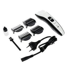 Машинка для стрижки DELTA LUX DE-4207A, 2 Вт, АКБ, 4 насадки, черно-белая