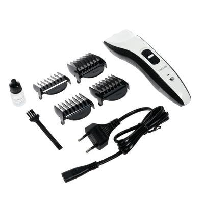 Машинка для стрижки DELTA LUX DE-4207A, 2 Вт, 4 насадки, АКБ, черно-белая - Фото 1