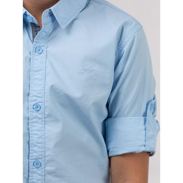 Рубашка для мальчиков, размер 34, цвет голубой