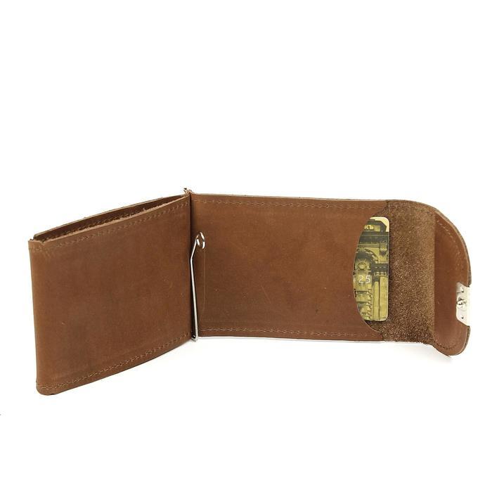 Зажим для купюр+монетница+карточки, н/к, коричневый шора