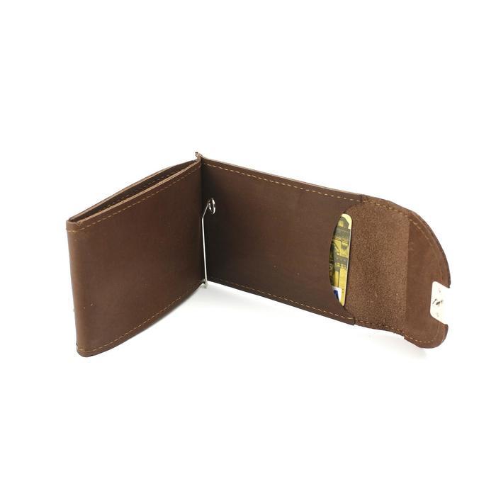 Зажим для купюр+монетница+карточки, н/к, коричневый темный  шора