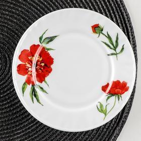 Тарелка пирожковая Доляна «Бархатная роза», d=15 см, цвет белый