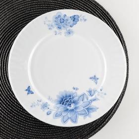 Тарелка обеденная Доляна «Синий бриз», d=25 см, цвет белый