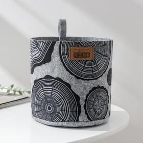 Корзина для хранения EcoPrint «Спил», 3 л, 17×17×16 см, цвет светло-серый