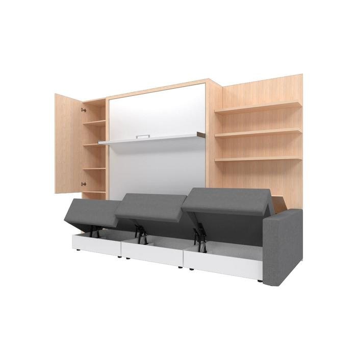 Комплект-трансформер со шкафом и полками  Ника Кровать 1600х2000 + диван серый/дуб